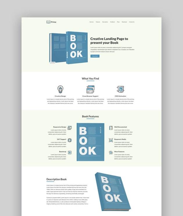 Prime multipurpose book landing page template