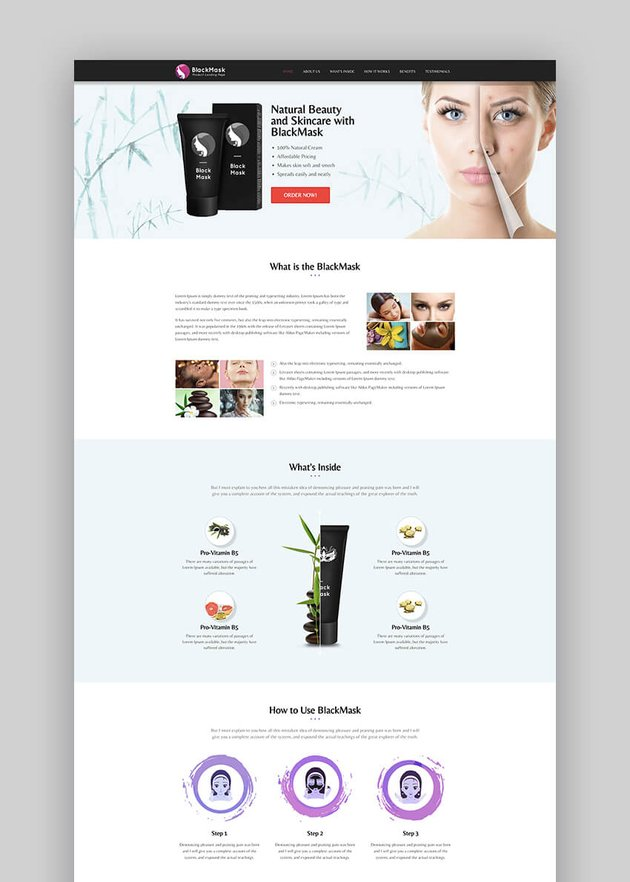 BlackMask product landing page template
