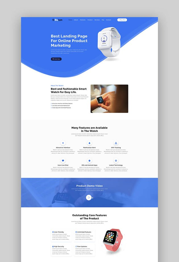 Buten simple product landing page