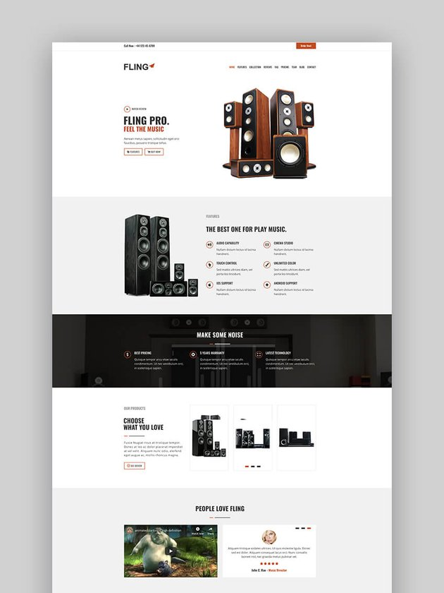 Fling product landing page template