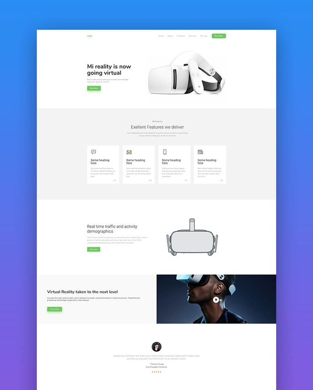 Root landing page template for products