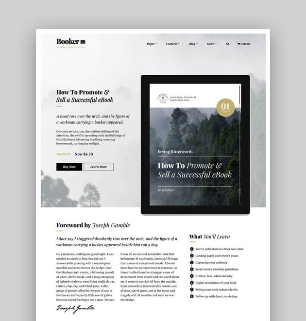 Booker theme for selling ebooks