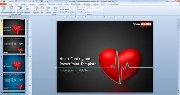 Heart Cardiogram Animated Template PowerPoint Gratis