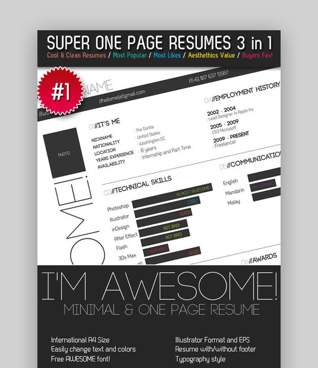 Super One Page Resumes Bundle