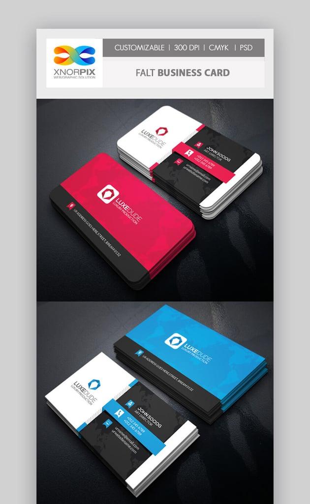 Flat Business Card - Photoshop PSD Format