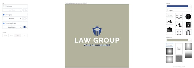 Customizing a legal logo template on Placeit