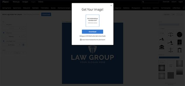 Downloading your finished Placeit law office logo design template