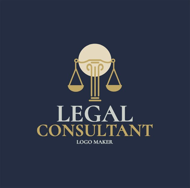 Legal Consultant Logo Maker with Scales of Justice Clipart