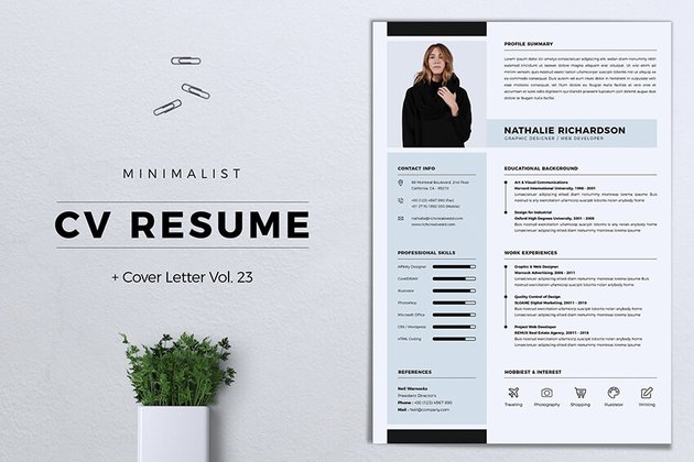 Minimalist CV Resume Vol 23