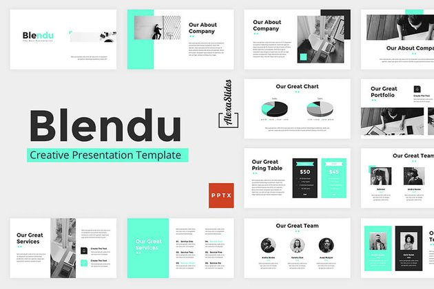 Use charts and graphs like the ones found in Blendu PowerPoint template