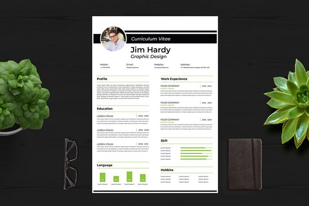 Curriculum Vitae With Skills section on Envato Elements
