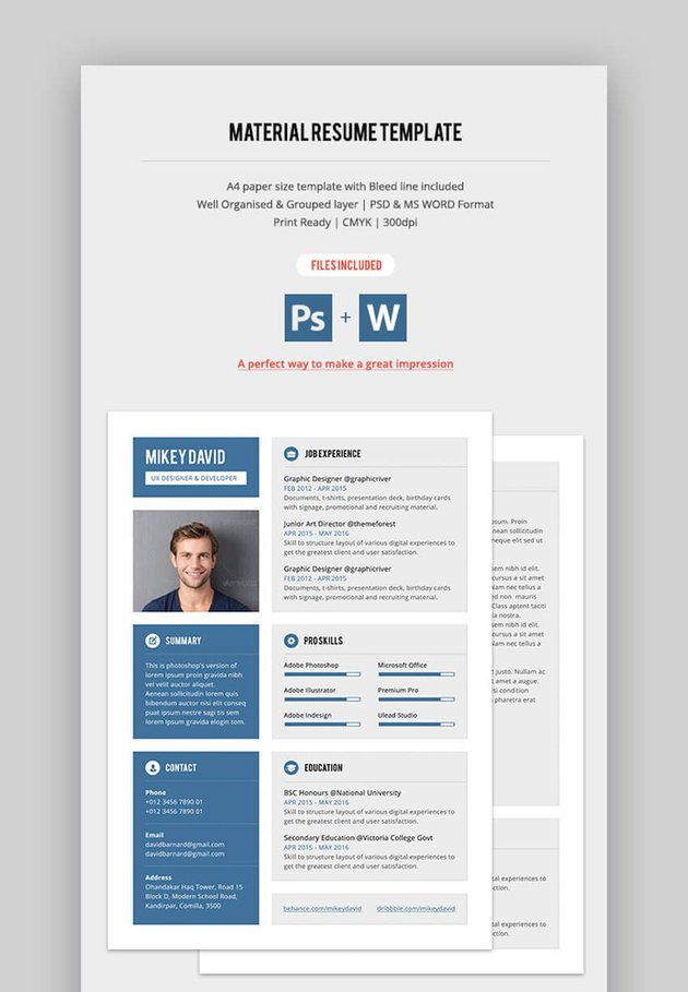 Material Resume - Attractive Resume Template