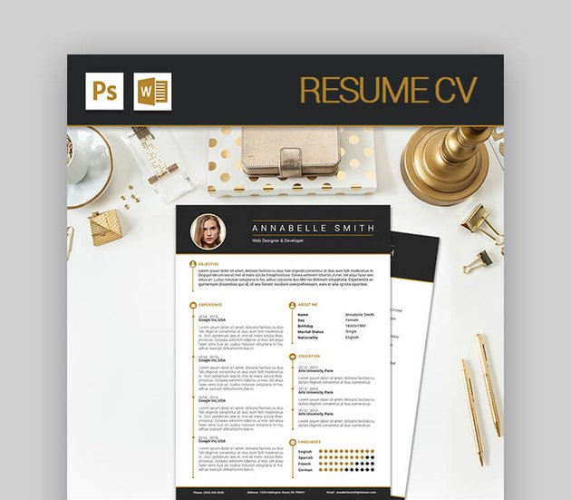 Resume CV - Modern Resume Template With Stylish Aesthetic