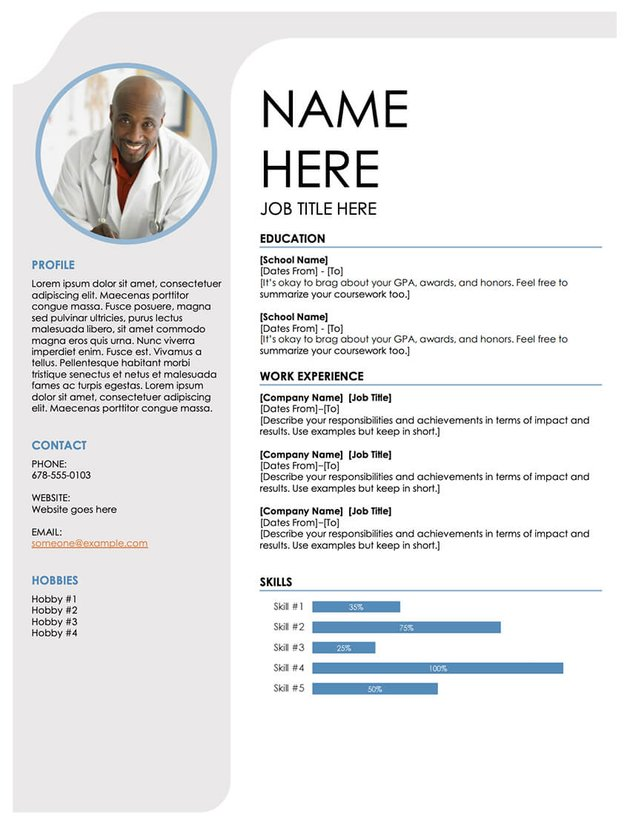 Blue Grey Free MS Word Resume Template