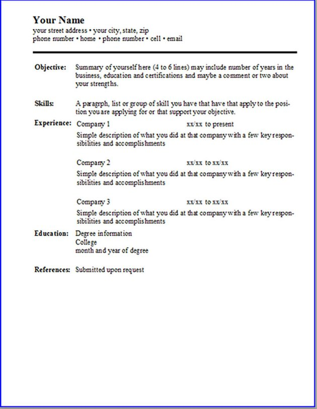 Simple Resume Template Free Resume Template for LibreOffice