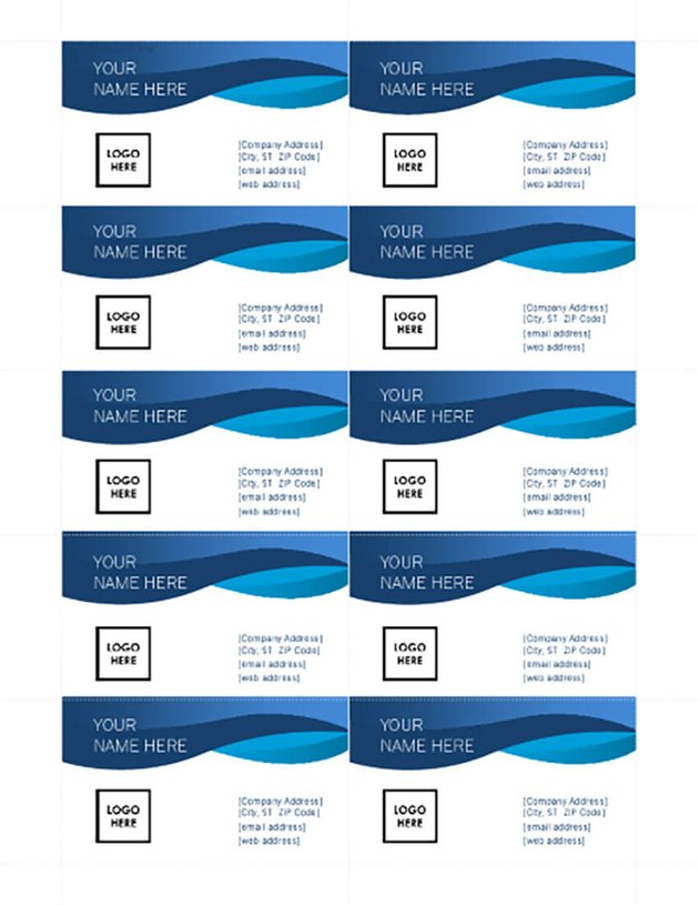 Blue Curve Free Business Card Template for MS Word