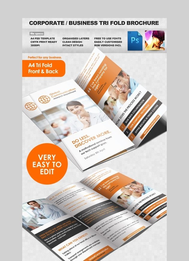 Trifold Brochure - Corporate Photoshop Brochure Template