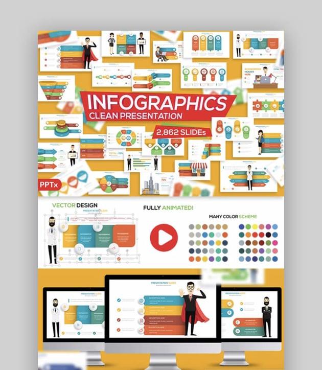 Große Infografiken PowerPoint-Animationsbeispiele