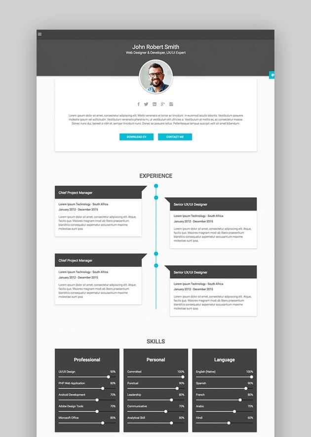 Decent - Material CV  Personal Resume Site Template