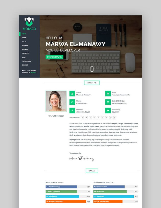Moraco - Clean Personal HTML Resume Template