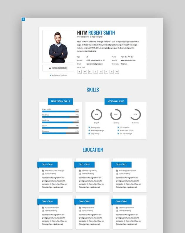 RStill - Minimal stilvolle HTML-Lebenslauf-Website-Vorlage
