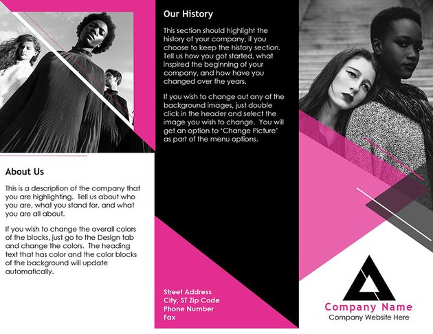 Free Fashion Brochure for MS Word