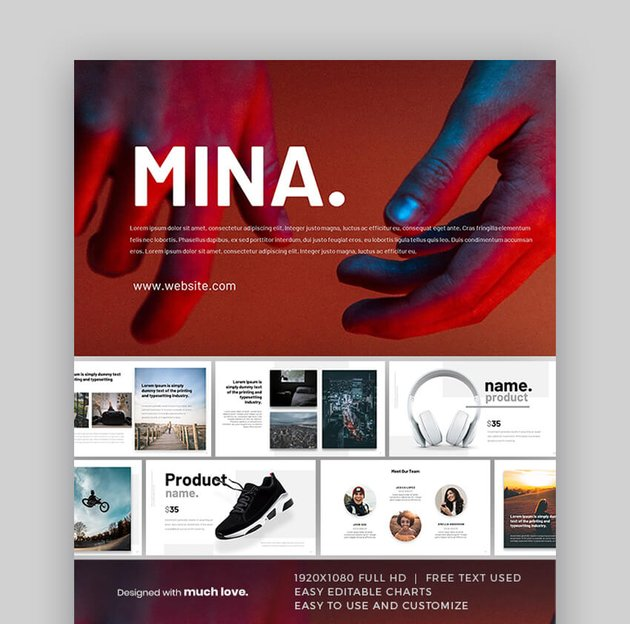 Mina - Vibrant Resume Slideshow Template in PowerPoint Format