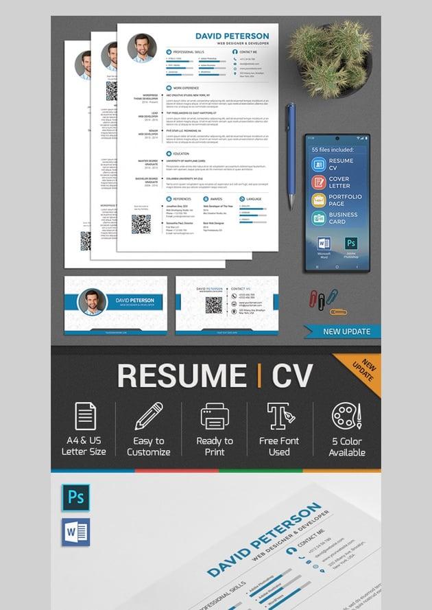 Resume CV Set - Professional Photoshop Resume Template