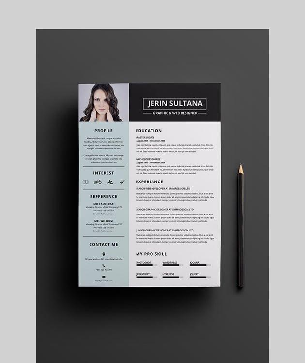 Minimal Clean Resume - Photoshop Resume Template