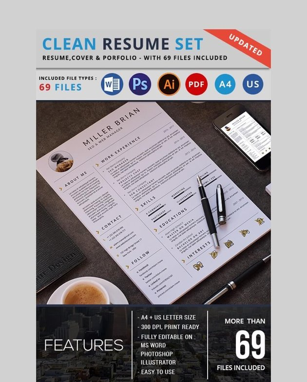 Resume PSD Template for Photoshop