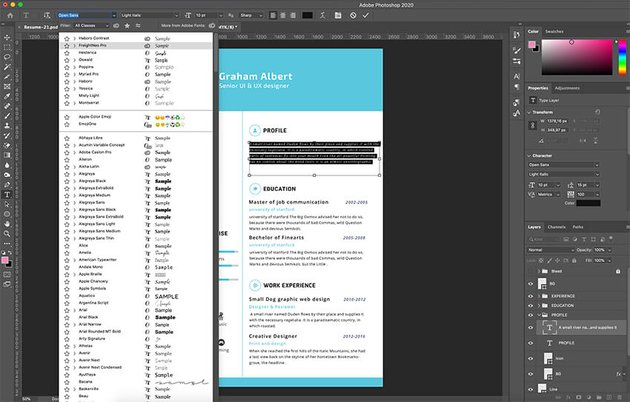 Customizing fonts in the template