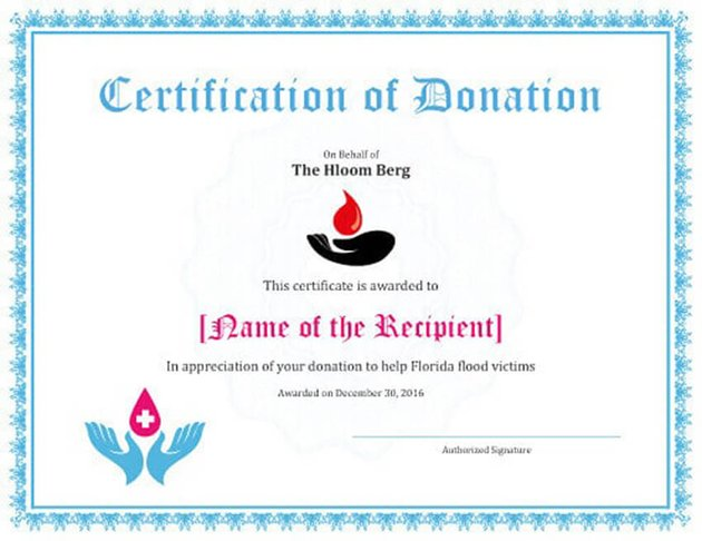 Free Microsoft Word Template for Certificate of Donation