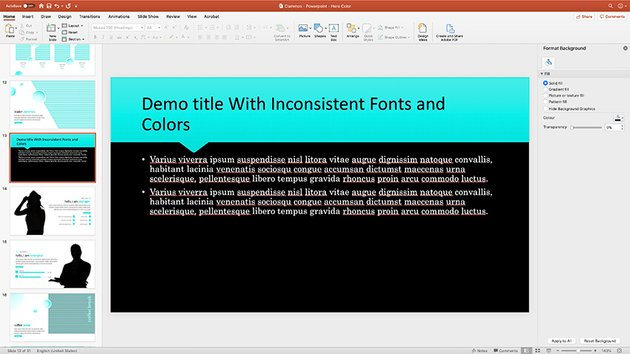 slide with inconsistent fonts and colors