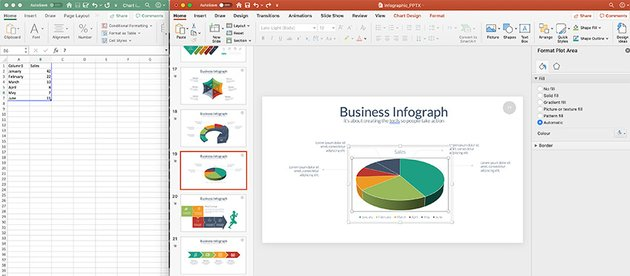 Pull the handles of the boxes down to include other rows in your charts In this case adding two rows created two more slices in the pie chart