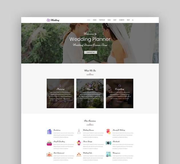 Wedding - Engagement  Marriage Planner WordPress Theme