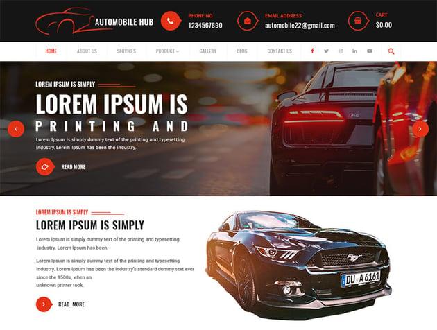 Automobile Hub Free Taxi Website Template