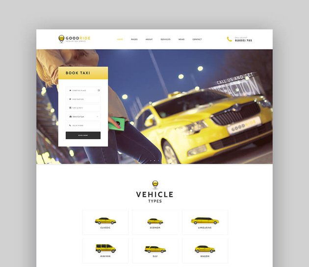 Good Ride - Taxi Company Cab Service WordPress Theme