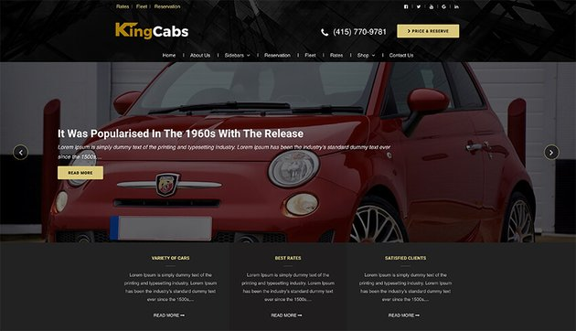 KingCabs - Free Taxi Website Template