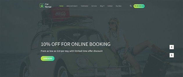 VW Car Rental - Taxi WordPress Theme Free Download