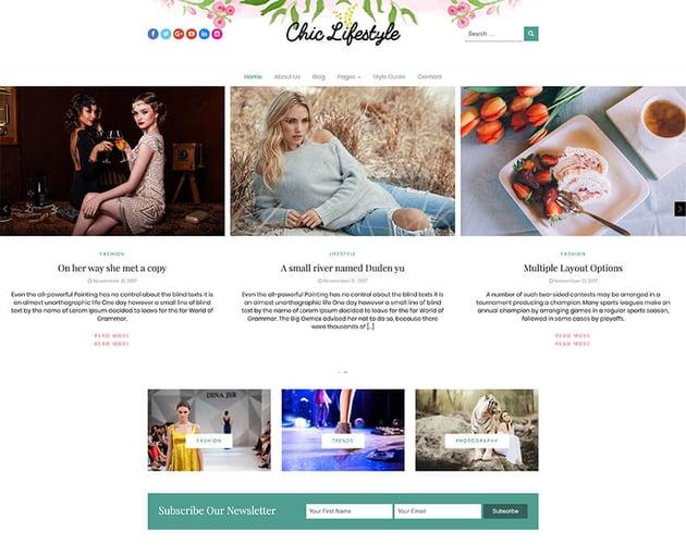 Chic Lifestyle - Free Lifestyle WordPress Theme