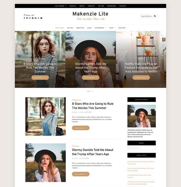 Makenzie Lite - Free Blog WordPress Theme