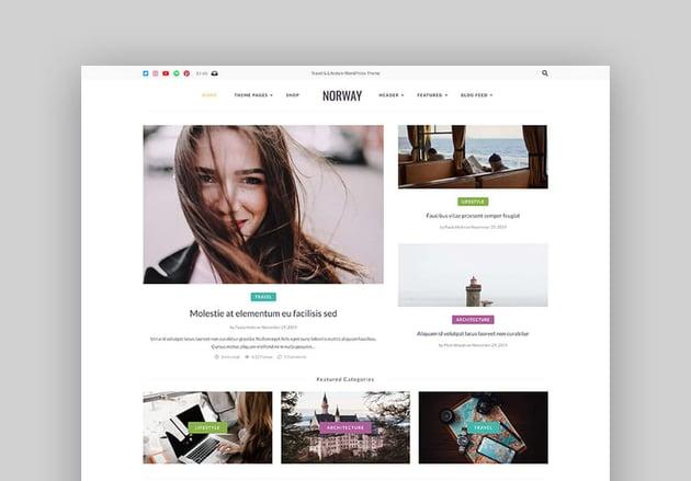 Norway - Responsive WordPress Lifestyle Travel Blog  Magazine Theme