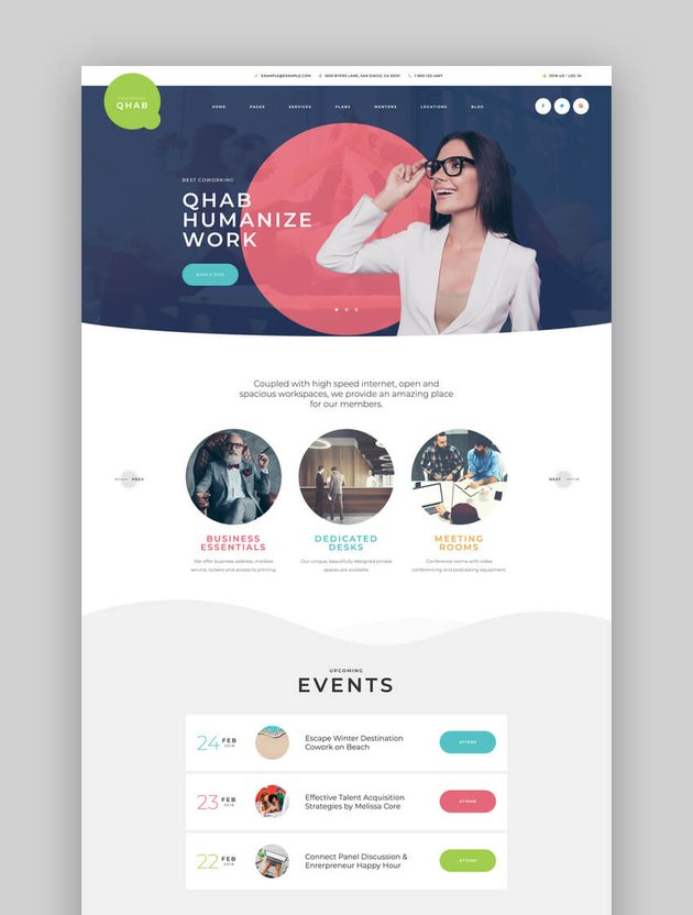 Qhab - oworking and Office Space WordPress Theme