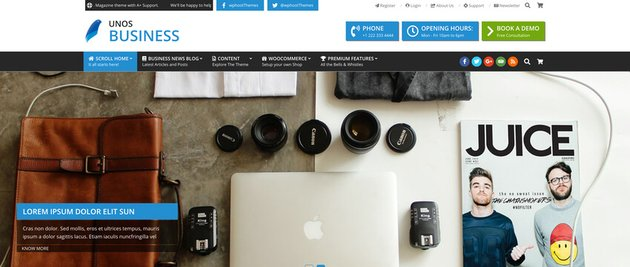 Unos Business Coworking Co Creative Space WordPress Theme Free Download