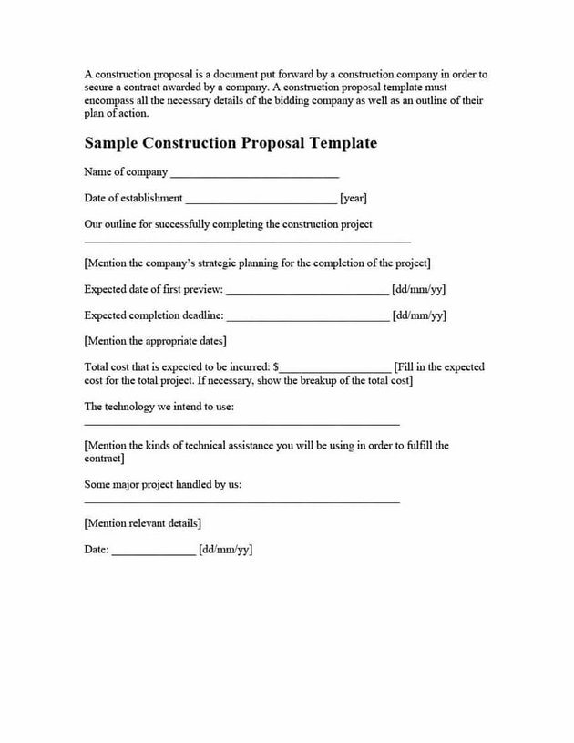 Free Simple Construction Proposal