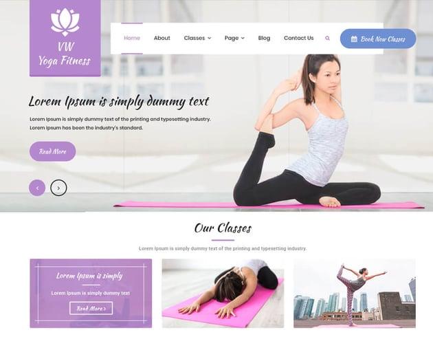 VW Yoga Fitness - WordPress Theme