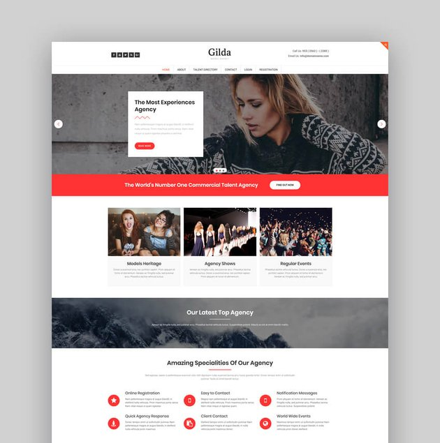 Gilda - Model Agency WordPress CMS Theme