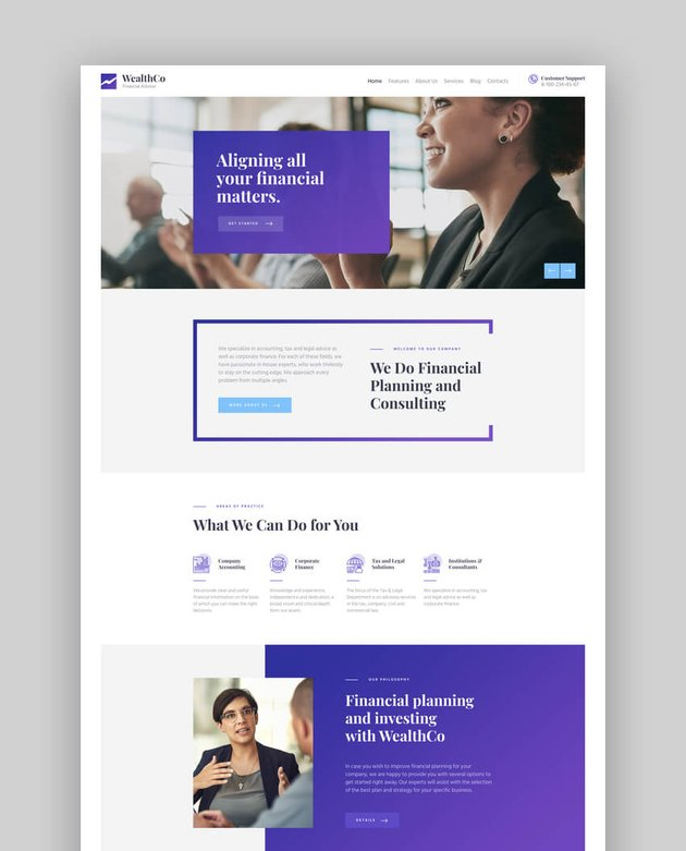 WealthCo  A Fresh Accounting  Financial Consulting WordPress Theme