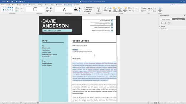 Customizing the cover letter