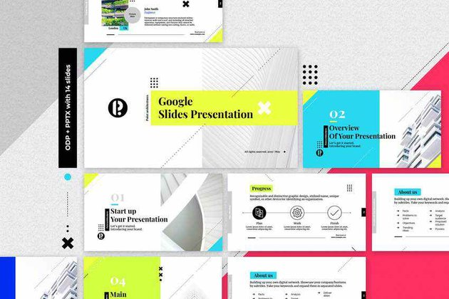 Creative Google Slides Template With Neon Accents